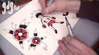 getlinkyoutube.com-Old School Tattoo Flash Painting Tutorial - Kid Slug & Traditional Flowers with Copic Markers