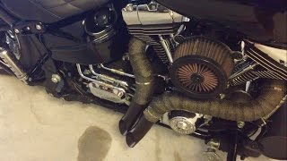getlinkyoutube.com-Harley Davidson FXSB Breakout Vance&Hines and Drag Pipes Sound