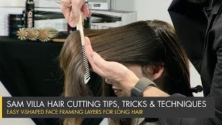 getlinkyoutube.com-How To Cut Perfect Face Framing Layers for Longer Hair - V-Shaped Layers