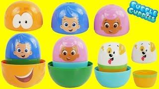 getlinkyoutube.com-Play Doh BUBBLE GUPPIES SURPRISE EGGS Stacking Nesting Cups Pocoyo Disney Frozen HelloKitty