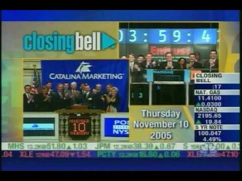 Dick Buell Ringing the NYSE Closing Bell on Behalf of Catalina Marketing (POS) (November 10, 2005) Dick Buell, CEO of Catalina Marketing (POS), rang the closing bell at the New York Stock Exchange (NYSE) on Thursday, November 10, 2005. Klaar, finished, finito, fertig, afgelopen, dingdingding, done.