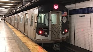 getlinkyoutube.com-NYC Subway HD 60 FPS RARE: Women's March Extra R160 A & D Trains @ Canal, WTC, & Grand (1/21/17)