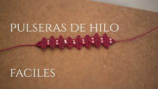 getlinkyoutube.com-pulsera de hilos  con flores en macrame | friendships bracelets tutorial