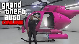 getlinkyoutube.com-GTA 5 Online - How To Get The Pink Buzzard (Modded Helicopter) Secret/Rare Vehicle! (GTA V)