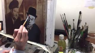 getlinkyoutube.com-Tribute to Laurel & Hardy (oil painting step by step)
