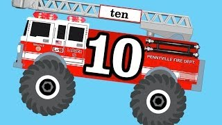 getlinkyoutube.com-Monster Fire Trucks Teaching Numbers 1 to 10 - Learning to Count for Children