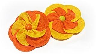 getlinkyoutube.com-Como hacer flores fáciles de fieltro. Felt flower.