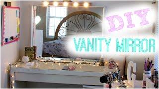 getlinkyoutube.com-DIY Hollywood Vanity Light Mirror   DIY Room Decor ♥ Easy, Cheap, & NO DRILLING!