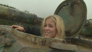 getlinkyoutube.com-Hilarious reporter crushes cars in tank driving fail