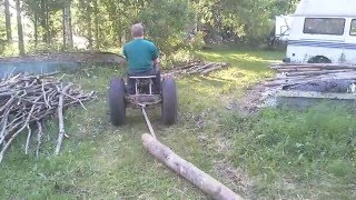 getlinkyoutube.com-My little homemade garden tractor part7 / winch attachment on a 6.5 hp engine
