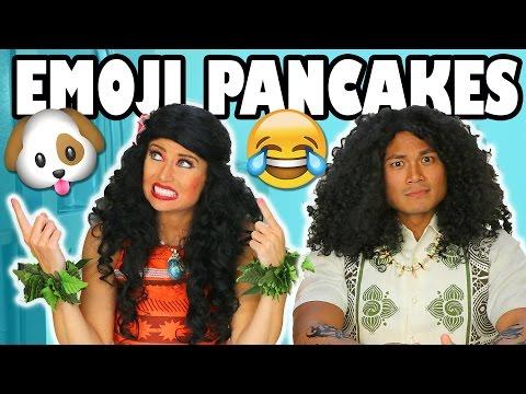Moana vs Maui Emoji Pancake Art Challenge for Kids. 😺 Totally TV
