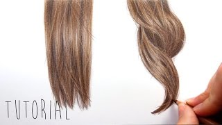 getlinkyoutube.com-Tutorial | How to draw realistic brown straight and curly hair with colored pencils | Emmy Kalia