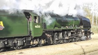 getlinkyoutube.com-46233 'Duchess of Sutherland' at St. Neots and Holme (+ Belmond Pullman) 1st Dec. 2016