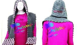 getlinkyoutube.com-كروشية سكارف بغطاء الرأس أو كابتشو مع الجيوب \ قناة خيط وإبرة \  Crochet  hooded scarf with pockets