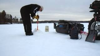 getlinkyoutube.com-Northern WI Ice Fishing with the Nils Convertible Auger - January 2015