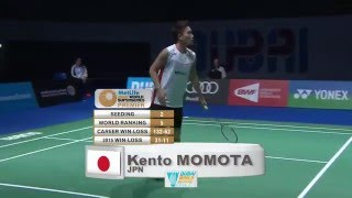 getlinkyoutube.com-Dubai World Superseries Finals 2015 | Badminton F M4-MS | Viktor Axelsen vs Kento Momota