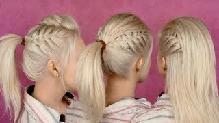 getlinkyoutube.com-Back to school hairstyles for everyday: braided half updo and ponytail party hair tutorial