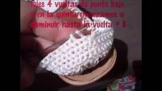 "getlinkyoutube.com-sandalias tejidas a crochet con suela para adulto paso a paso "" blanca """