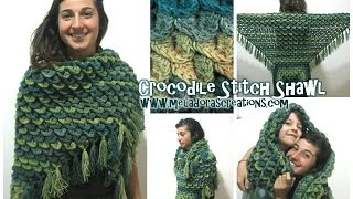 getlinkyoutube.com-Crocodile Stitch Shawl REVISED - Crochet Tutorial