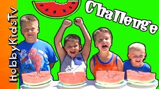 getlinkyoutube.com-WATERMELON Eating CHALLENGE + Prank! Surprise Toys HobbyKidsTV