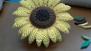 getlinkyoutube.com-How to make 3d origami Sunflower part2
