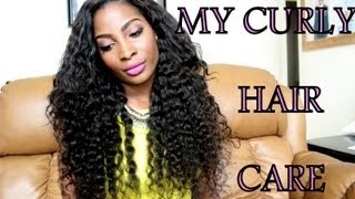 getlinkyoutube.com-How I care for my curly hair weave (daily routine)