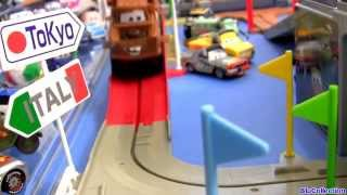 getlinkyoutube.com-Tomica CARS 2 Big Loader Railway Playset WGP Mack Truck with Mater Disney Pixar Takara Tomy Track