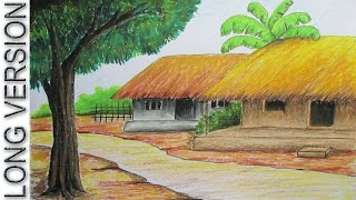 getlinkyoutube.com-How to Draw Village Hut with Pastel Color [LONG VERSION]