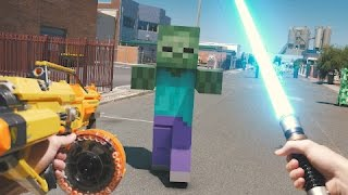 getlinkyoutube.com-Minecraft In Real Life with Mods | Nerf, Mario, LEGO & More