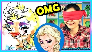 getlinkyoutube.com-Drawing Elsa - Blindfold CHALLENGE Color with Copic Markers - Fun2draw