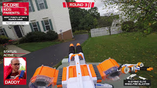 getlinkyoutube.com-Nerf War:  Parents vs Kids