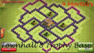 getlinkyoutube.com-Clash of Clans - Townhall 8 Trophy base (4 mortars)
