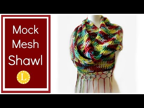 Loom Knit Scarf Shawl  Mock Mesh Shawl Pattern on a Circular Loom