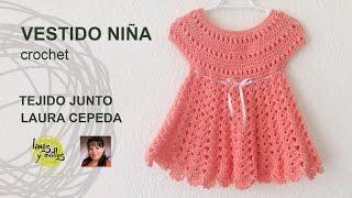 getlinkyoutube.com-Tutorial Vestido Niña Crochet  Tejido Junto Laura Cepeda
