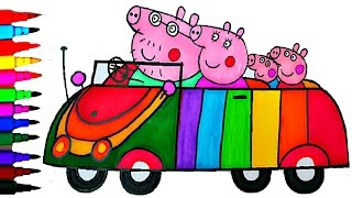 getlinkyoutube.com-PEPPA PIG Coloring Book Pages Rainbow Car Kids Fun Art Learning Activities Kids Balloons Toys