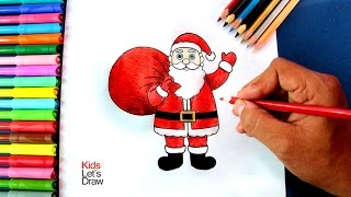 getlinkyoutube.com-Cómo dibujar a Papá Noel con su Bolsa de Regalos | How to draw Santa Claus and his Gifts Bag