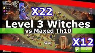 getlinkyoutube.com-SICK!! 22 Level 3 Witches + 12 Earthquake Spells vs Maxed Th10 (DEVASTATED!!)