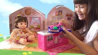 getlinkyoutube.com-ぽぽちゃん おうち おしゃべりキッチン&リビングダイニング 家 お道具  おもちゃ おままごと Baby Doll Popochan Kitchen Play House Toy