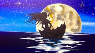 getlinkyoutube.com-EASY Beginners acrylic painting | Girl Sailing in Umbrella | Full Moon