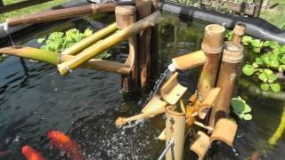 getlinkyoutube.com-Bird scarer Shishi Odoshi Fountain made of bamboo using my panasonicHDC-SD90