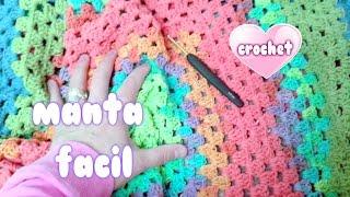 "getlinkyoutube.com-MANTA FACIL A CROCHET SIN COSER PASO A PASO ""crochet blanket for beginners""💗💗💗"