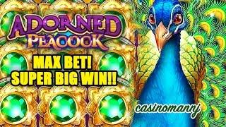 getlinkyoutube.com-Adorned Peacock Slot - MAX BET! - SUPER BIG WIN!! - Slot Machine Bonus