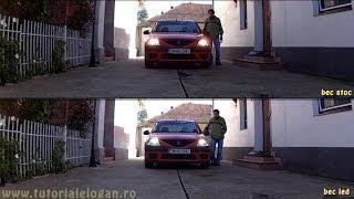getlinkyoutube.com-Testat bec cu led H4 1800 lumeni pe Logan, 1080p