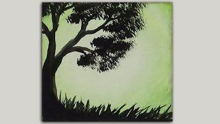getlinkyoutube.com-Mini Acrylic Painting - Tree Silhouette