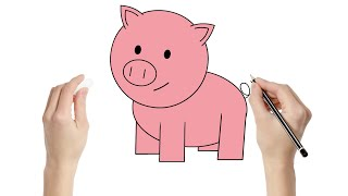 getlinkyoutube.com-How to Draw a Pig : Fun learning art activity for kids