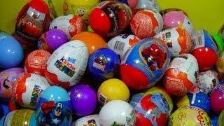 getlinkyoutube.com-80 Surprise Eggs Kinder Surprise SpongeBob Toy Story Cars Spider man Hello Kitty MARVEL Heroes!