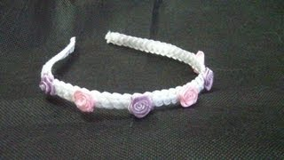 getlinkyoutube.com-Vincha con trenzado en cintas//ribbons headband...proyecto 176
