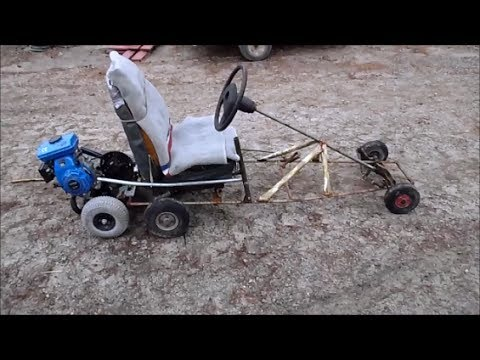 A homemade go-kart with a simple manual clutch system