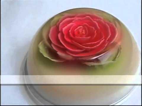 Gelatina Floral 3D Rosa Roja