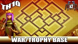 "Clash of Clans ♦ ""EPIC TH10 WAR/TROPHY BASE"" w/ New Update ♦ Anti - 3 Star?!"